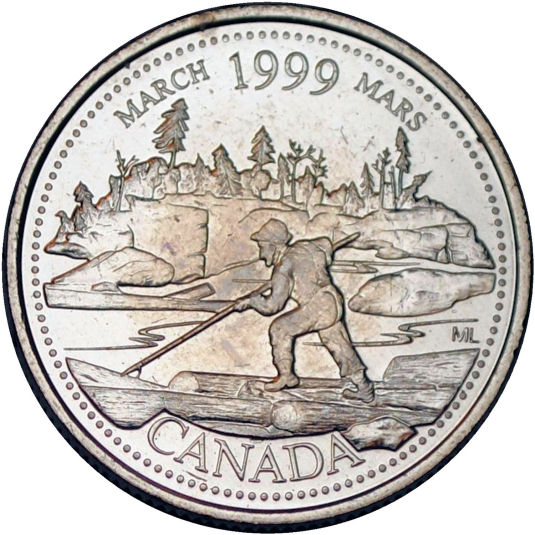 Filling in the E 1999 January  Canada 25 Cent