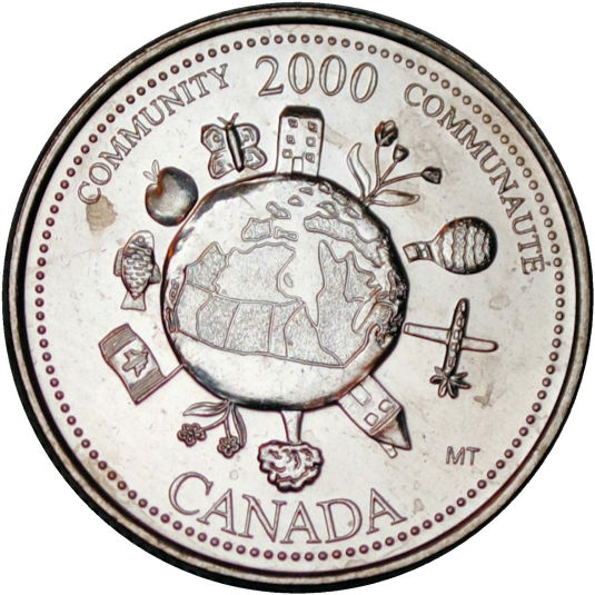 Coloured and Uncoloured Set 2017 CANADA 25 Cent Hope For A Green Future Quarter